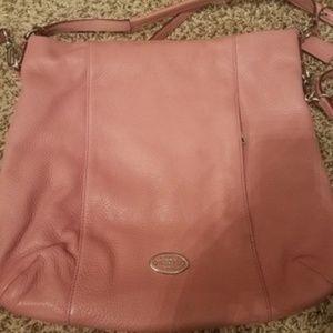 Light Pink Leather Cross Body Bag
